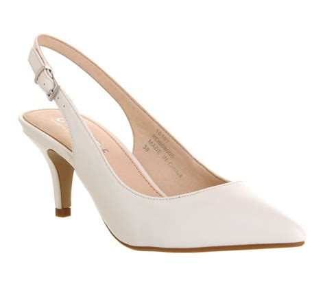 slingback sneakers office date slingback mid heel court shoes in white