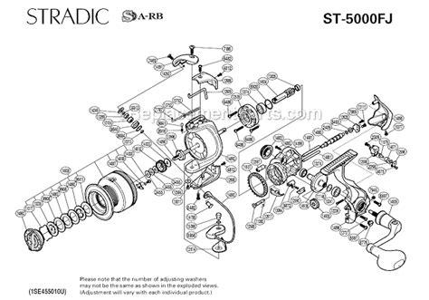 shimano stradic parts diagram shimano st 5000fj parts list and diagram