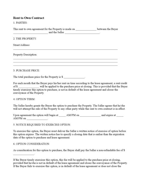 rent to buy agreement template rent to own contract 2 legalforms org
