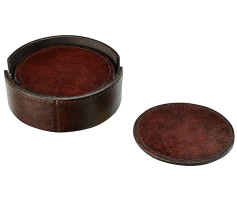 drink coasters saddle leather drink coaster pottery barn au