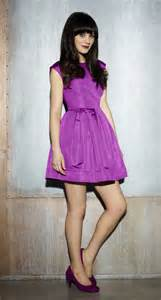 zooey deschanel s purple dress and shoes on new