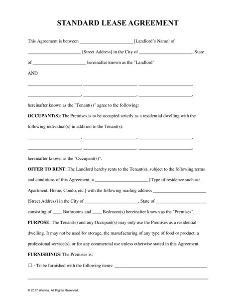 Free Rental Lease Agreement Templates Residential One Year Lease Template