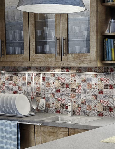 Moroccan Tiles Kitchen Backsplash patchwork backsplash for country style kitchen ideas