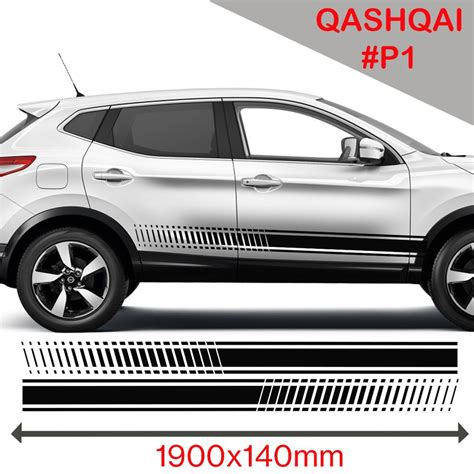 Decals Auto Tuning by Nissan Qashqai Racing Side Stripes Stickers Decal Tuning