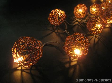 35 Natural Brown Wicker Rattan Ball 5m Led String Fairy Brown String Lights