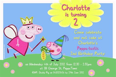 peppa pig invitation card template birthday invitation word template peppa pig