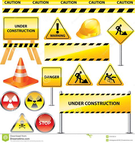 printable road construction signs warning and under construction signs stock images image