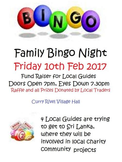 Girlguiding Fundraising Letter Curry Rivel Family Bingo Fundraiser Fri 10th Feb