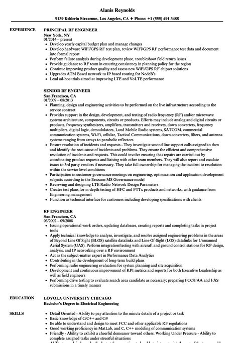 rf design engineer job description rf design engineer sle resume sle of resume cv fedex