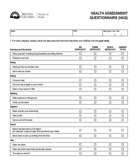 health questionnaire form template sle health questionnaire form 10 free documents in