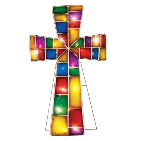 Outdoor Lighted Cross Lighted Stained Glass Looking Cross Stake Outdoor