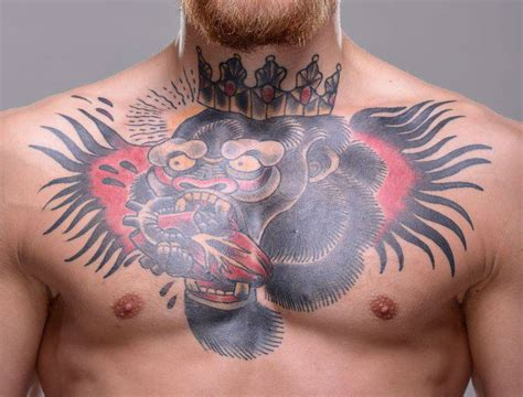 conor mcgregor tattoo conor mcgregor s chest of a gorilla king a
