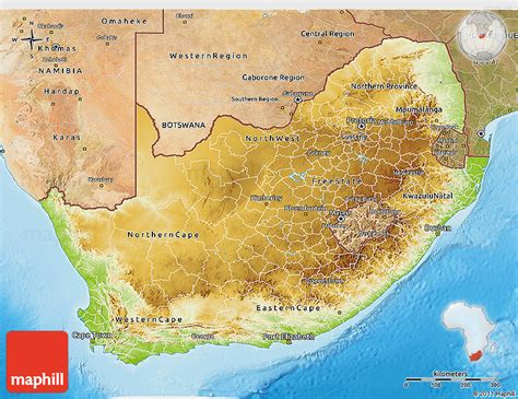 south africa physical map physical 3d map of south africa satellite outside shaded