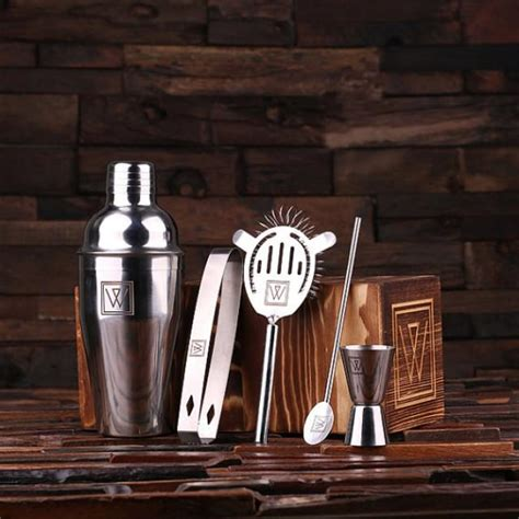 best cocktail shaker set personalized 5pc cocktail shaker mixer sets with wood