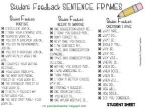sentence frames for students to use durng peer
