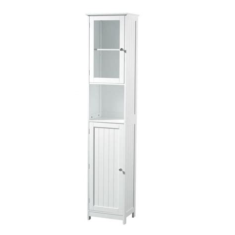 furniture white wooden free standing bathroom cabinets with open shelf and glass door as