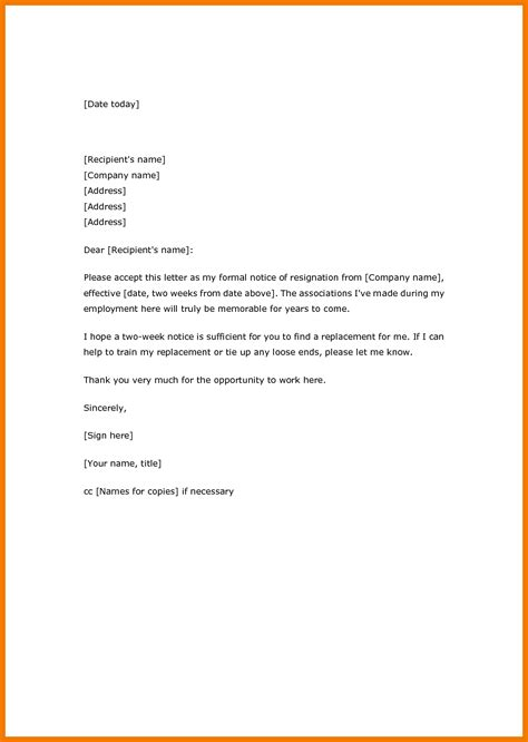 Resignation Letter It Professional by 10 Exle Of Letter Of Resignation Two Weeks Notice Mailroom Clerk