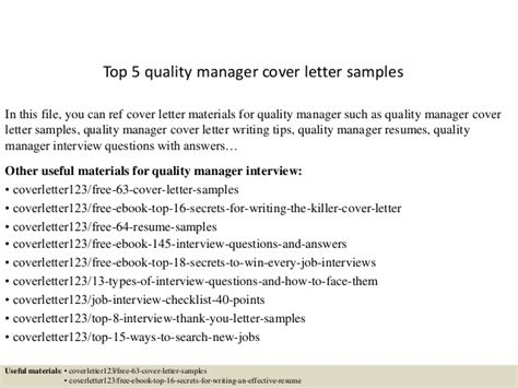 Qa Manager Cover Letter Top 5 Quality Manager Cover Letter Sles