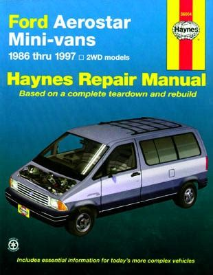 old car manuals online 1997 ford aerostar engine control 1997 ford van owners manual
