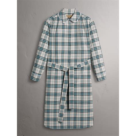 Lace Trim Collar Shirt burberry lace trim collar check cotton shirt dress in pale