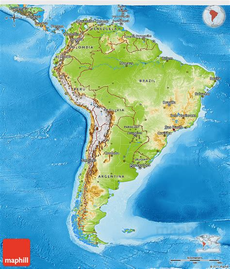 south america physical political map physical 3d map of south america political outside