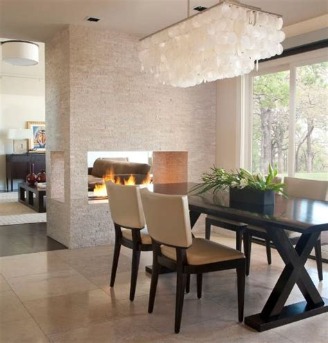 Modern Dining Room Lighting 20 Gorgeous Two Sided Fireplaces For Your Spacious Homes