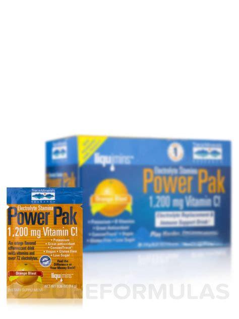 power apk electrolyte stamina power pak with 1200 mg vitamin c orange blast flavor box of 32 packets
