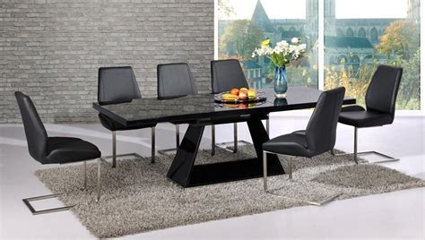Black Glass Dining Table Set Extendable Black Glass High Gloss Base Dining Table And 8 Chairs