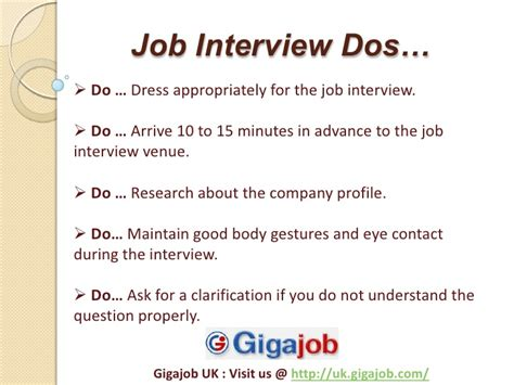 job interview tips dos and donts