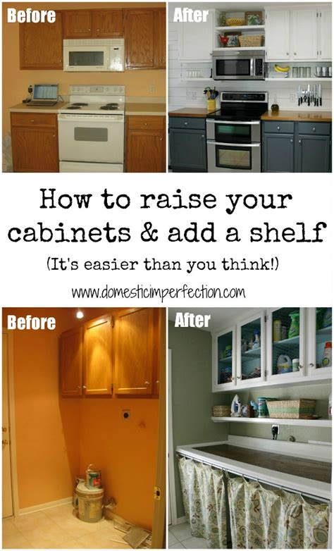 how to stagger existing cabinets how to raise your cabinets add a shelf domestic