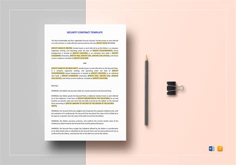 security contracts templates security contract template in word docs apple pages