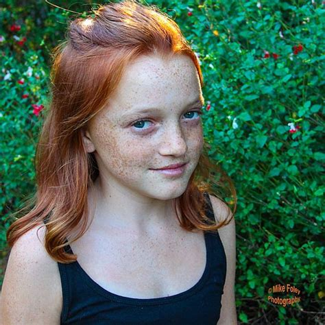 preteen red head ginger girl pre teen bright redhead freckles on