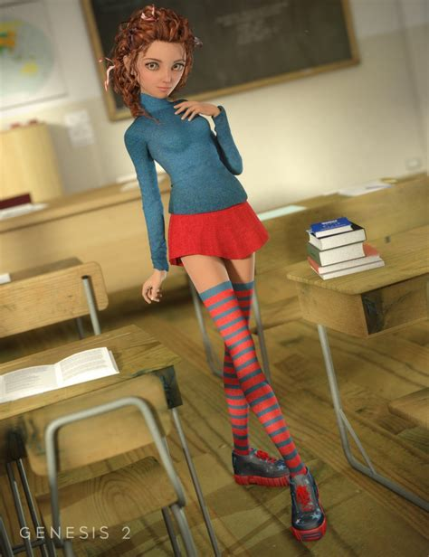 vinput lolicon manga student for genesis 2 female s 3d models and 3d
