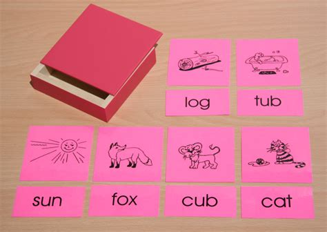 montessori card set template pink picture cards word cards with wooden boxes