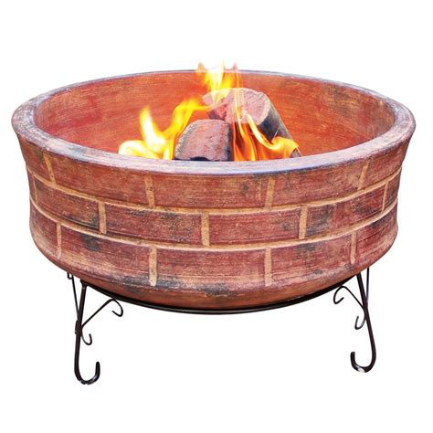 Clay Firepit Glow 720 X 720 X 425mm Venetian Clay Pit Bunnings Warehouse