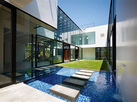 house features water feature stepping stones bright contemporary home