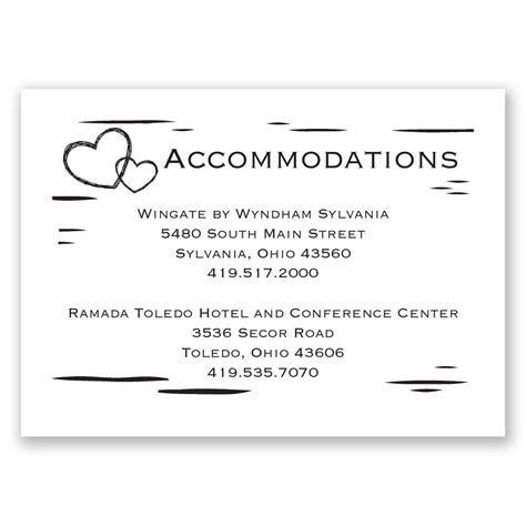 hotel accommodation card template birch bark accommodations card invitations by