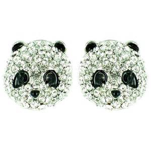 earrings uk bling clear and black on silver plated panda earrings bling from