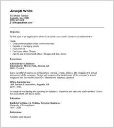 administrator resume exle free templates collection
