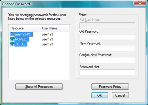 reset network password vista novell doc novell client 2 sp1 for windows user guide