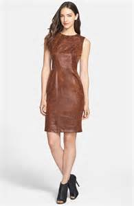 vince camuto faux leather sheath dress in brown lyst