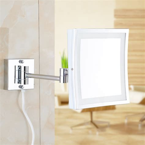 beautiful make up wall mount bathroom mirror square square 8 5inch led light wall mounted folding cosmetic