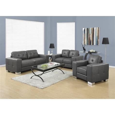 gray sofa set 3 leather sofa set in charcoal gray i 8221 2 3 gy pkg