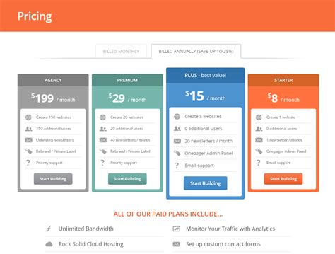web price 5 pricing table design at onepagerapp ux ui designs