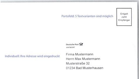 Deutsche Post Brief Beispiel Antwortkuvert R 252 Ckumschlag Gt Gt Schnelle Bestellung Hier Gt Gt