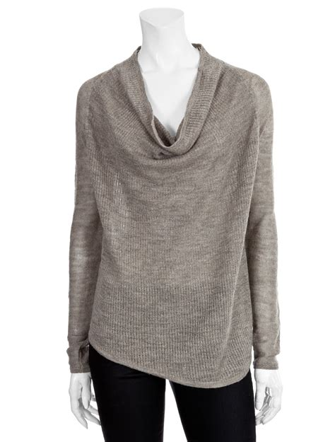 Cowl Neck Sweater helmut lang rib knit cowl neck sweater in gray grey lyst