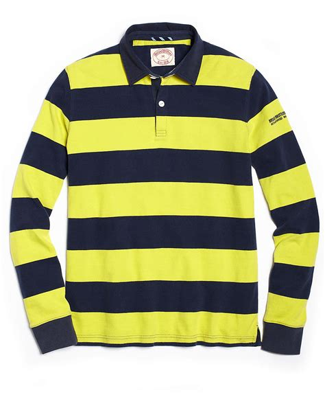 Polo Bb Stripe Navy Blue brothers rugby stripe polo in blue for lime green navy lyst