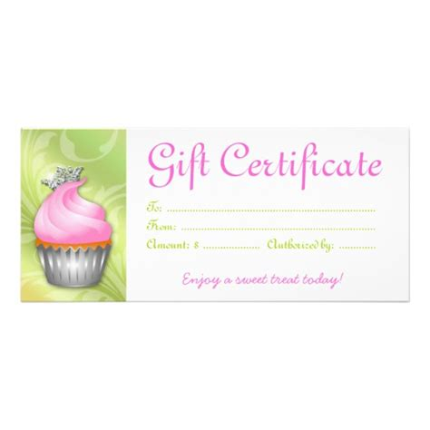 cupcake gift certificate crown pink lime zazzle