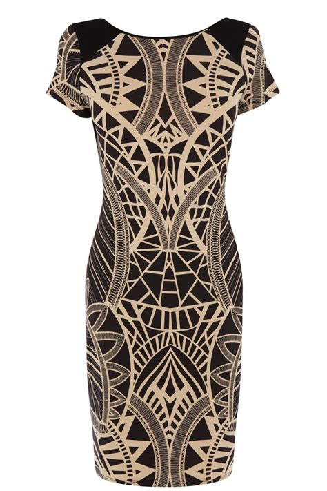 oasis tribal print bodycon dress in brown lyst
