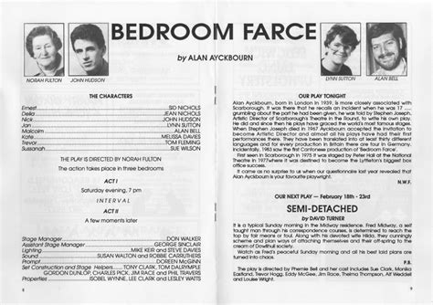 bedroom farce script 1991 progressive players gateshead all the plays
